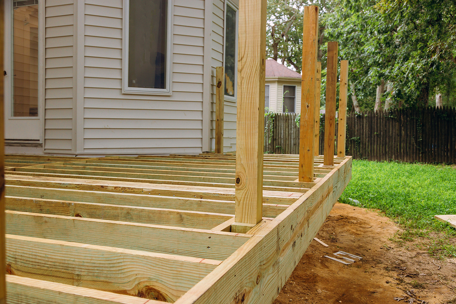 new deck patio with modern wooden deck installing